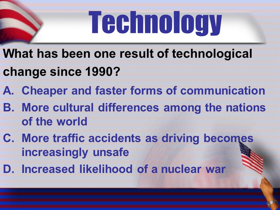 Technology What has been one result of technological change since 1990.