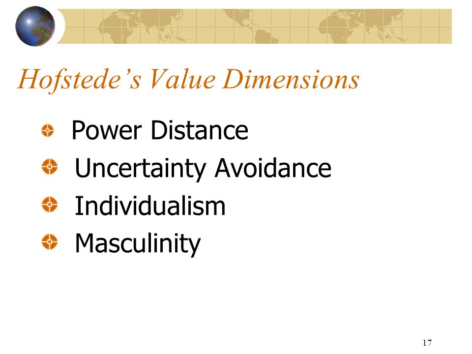 17 Hofstede's Value Dimensions Power Distance Uncertainty Avoidance Individualism Masculinity