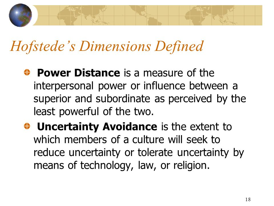 18 Hofstede's Dimensions Defined Power Distance is a measure of the interpersonal power or influence between a superior and subordinate as perceived by the least powerful of the two.