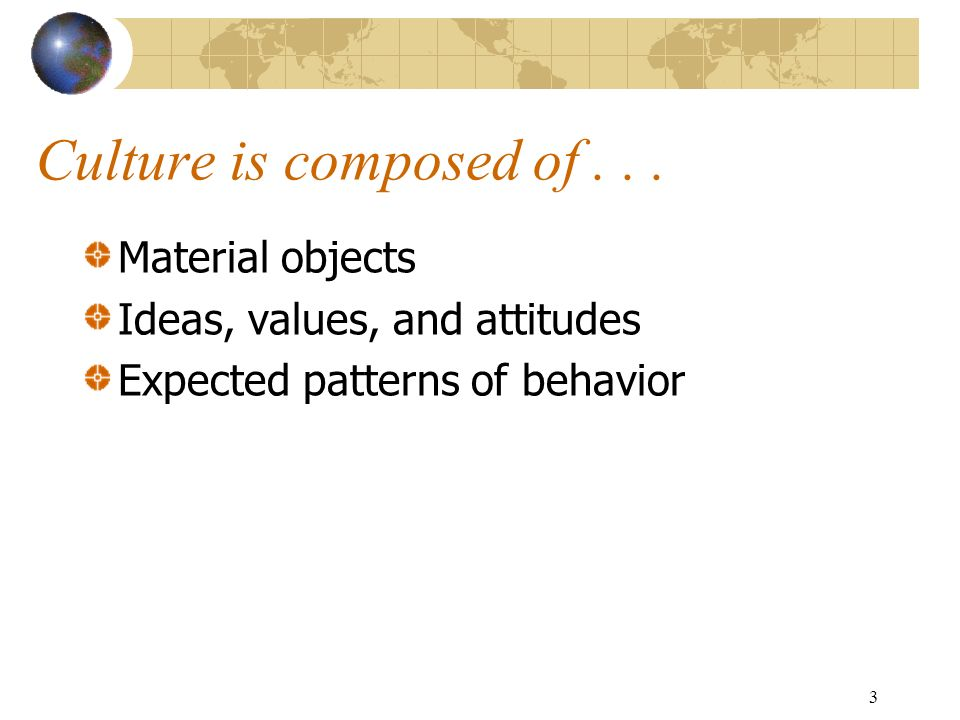 3 Culture is composed of...