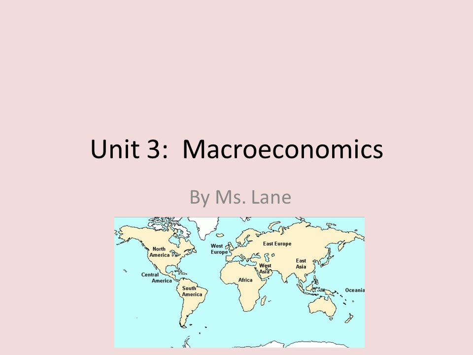 Unit 3: Macroeconomics By Ms. Lane