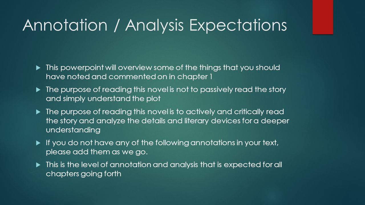 Annotation / Analysis Expectations  This powerpoint will overview some of the things that you should have noted and commented on in chapter 1  The p