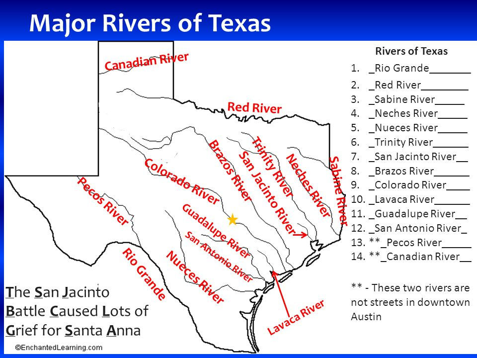 RIVERS AND CITIES OF TEXAS Major Rivers Of Texas Rivers Of Texas - 3 major rivers