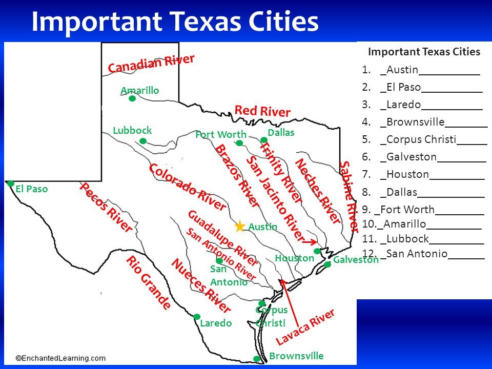 RIVERS AND CITIES OF TEXAS Major Rivers Of Texas Rivers Of Texas - 2 major rivers