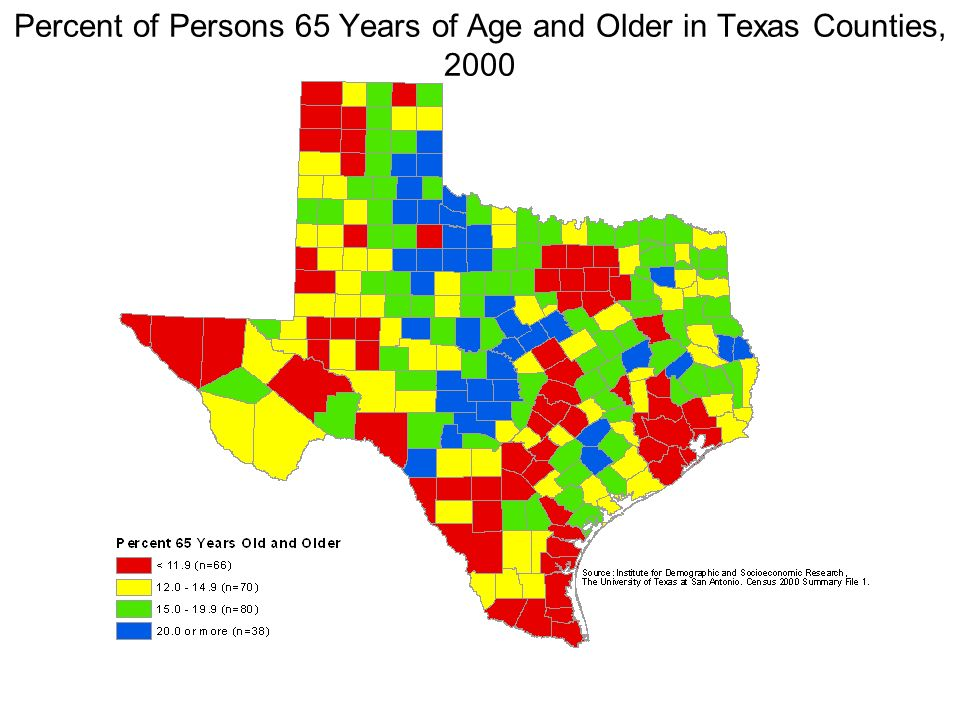 Percent of Persons 65 Years of Age and Older in Texas Counties, 2000