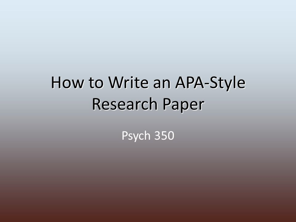 paper outline apa