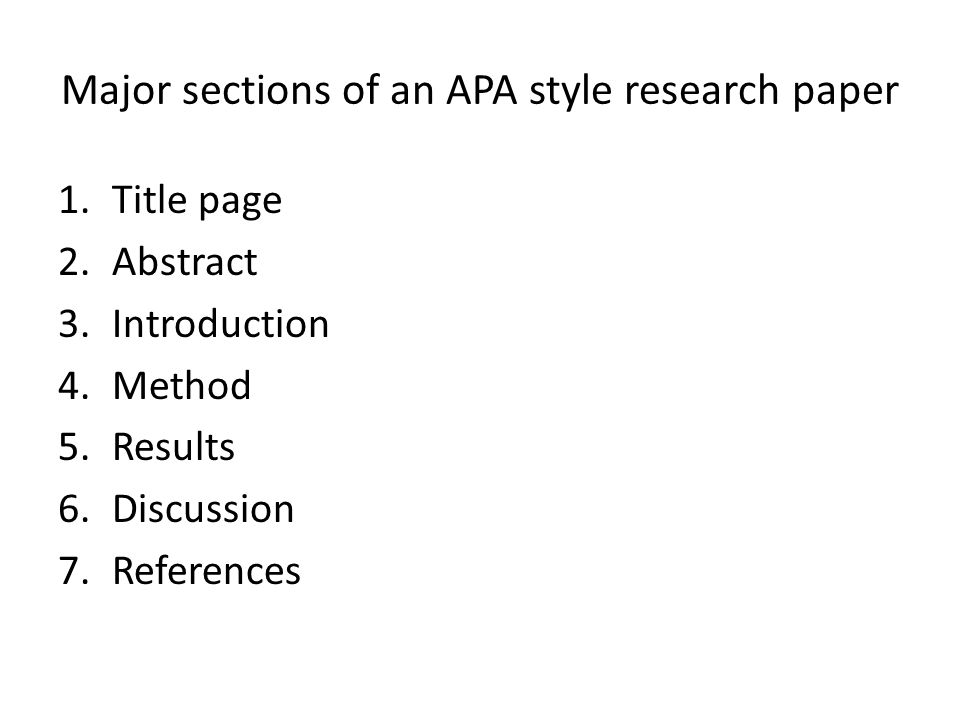 apa format for a research paper