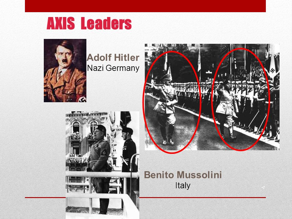 AXIS Leaders 7 Adolf Hitler Nazi Germany Benito Mussolini Italy
