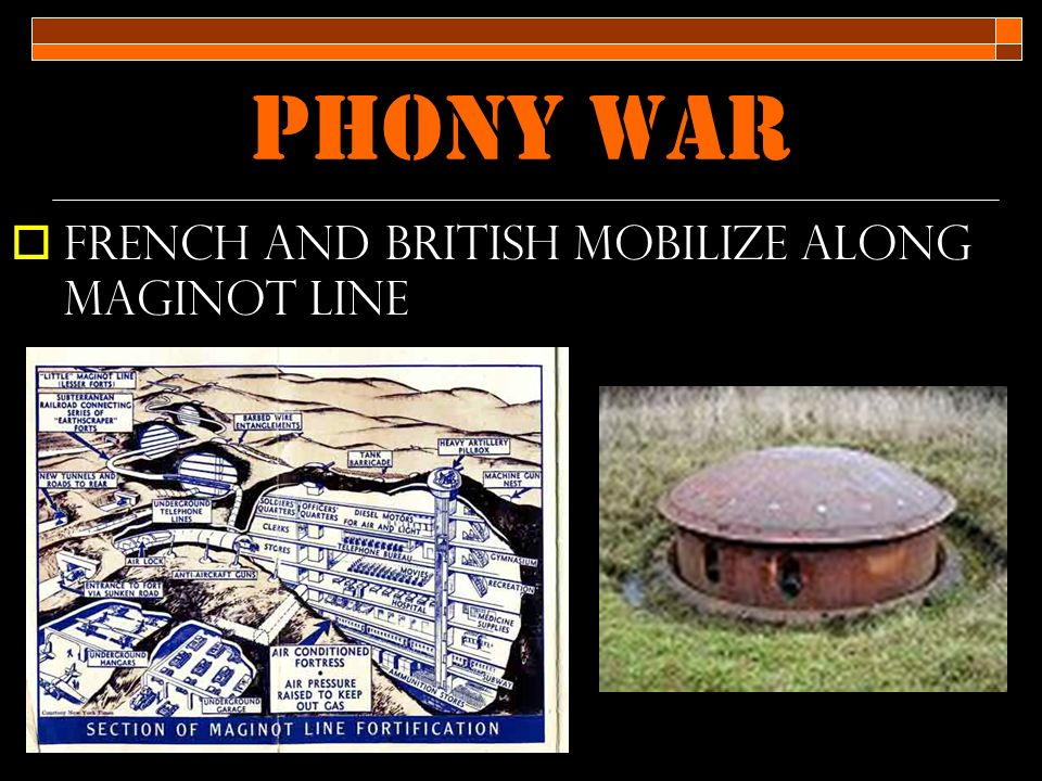 Phony war  French and British mobilize along Maginot line
