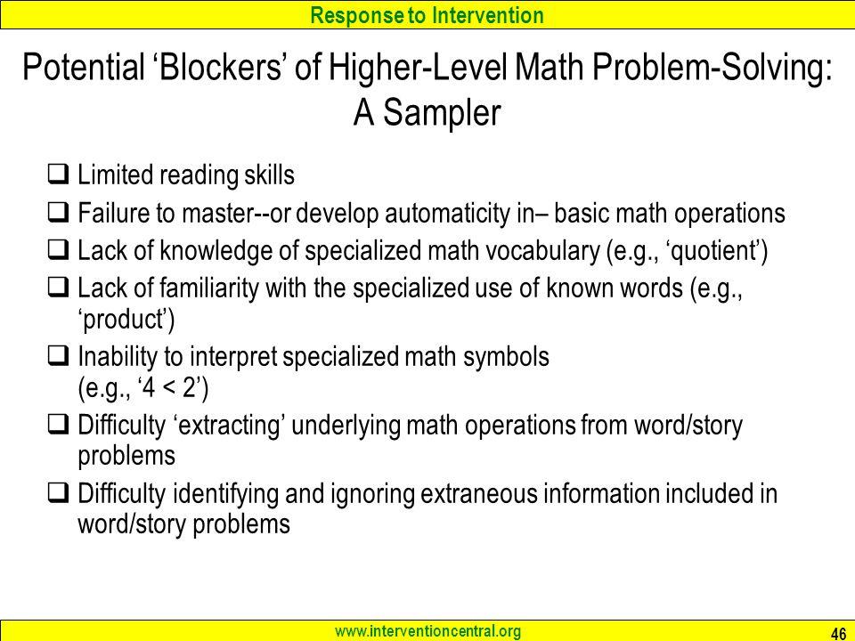 Response to Intervention RTI: Best Practices in Mathematics ...
