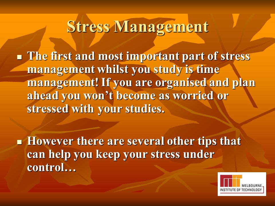 Stress Management The first and most important part of stress management whilst you study is time management.