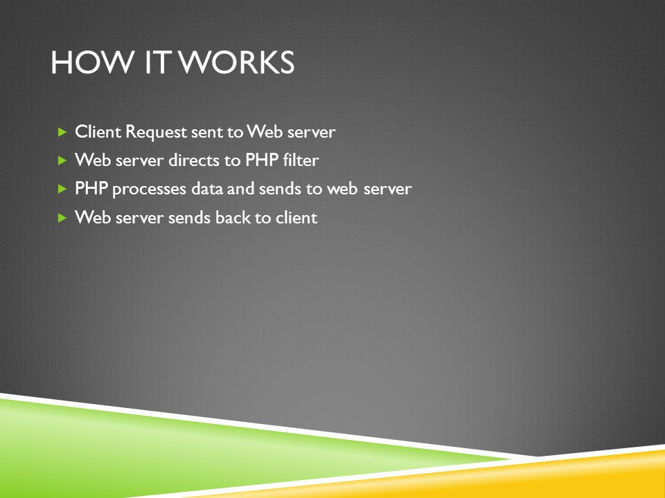 HOW IT WORKS  Client Request sent to Web server  Web server directs to PHP filter  PHP processes data and sends to web server  Web server sends back to client