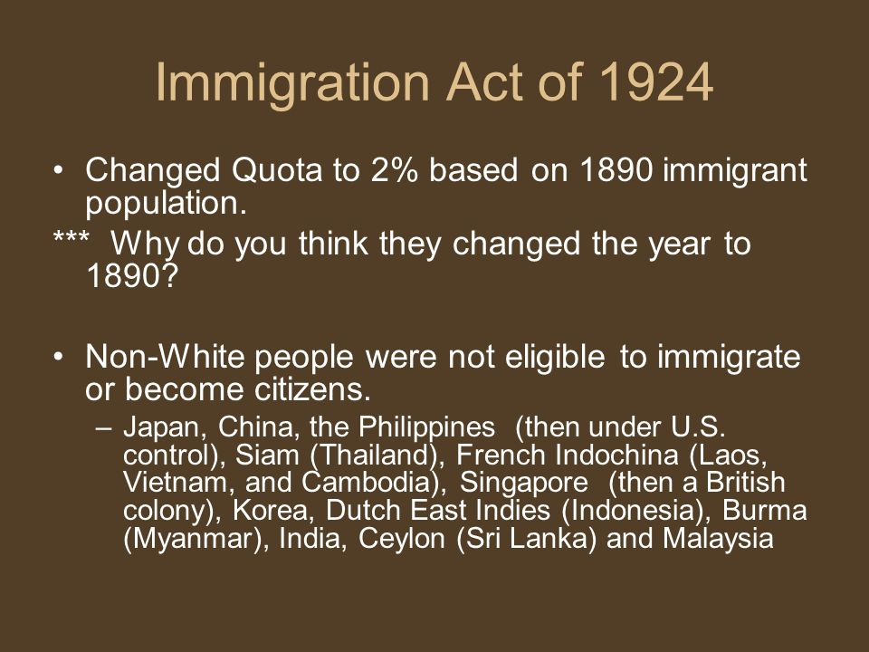 an analysis of the changes and events leading to the immigration act of 1924 Mexican immigration to the united states but rather as an endless treasure of real life stories and an exercise in analysis and immigration act of 1965.