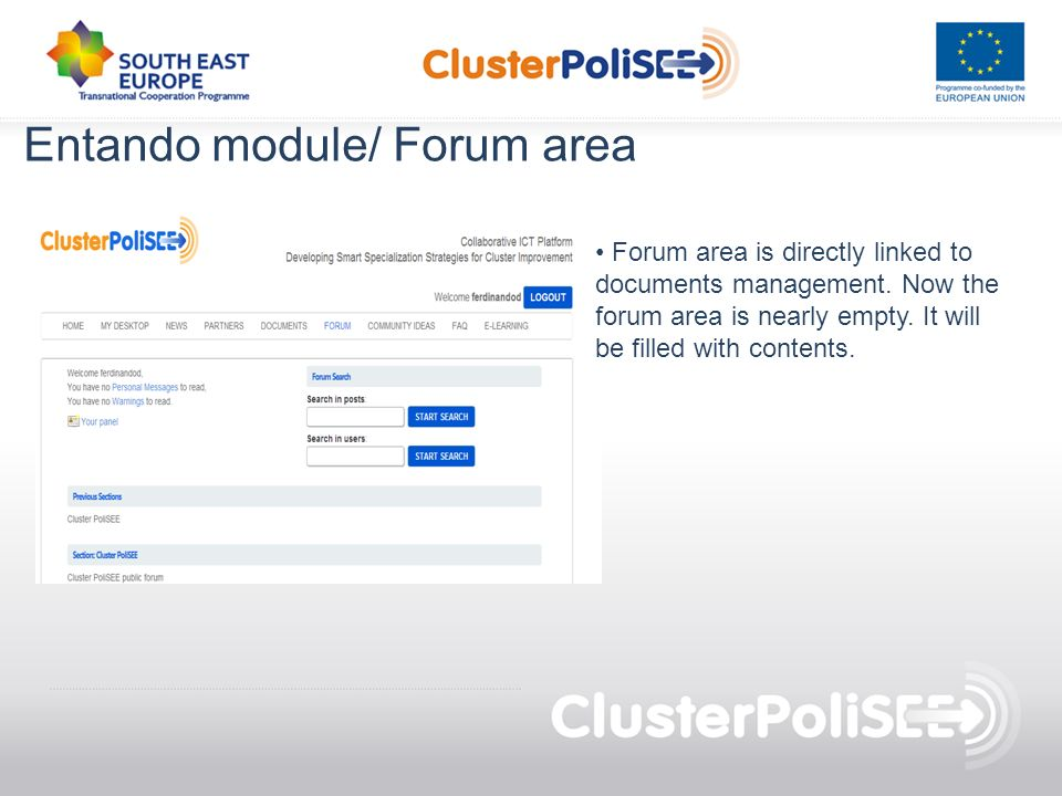 Entando module/ Forum area Forum area is directly linked to documents management.