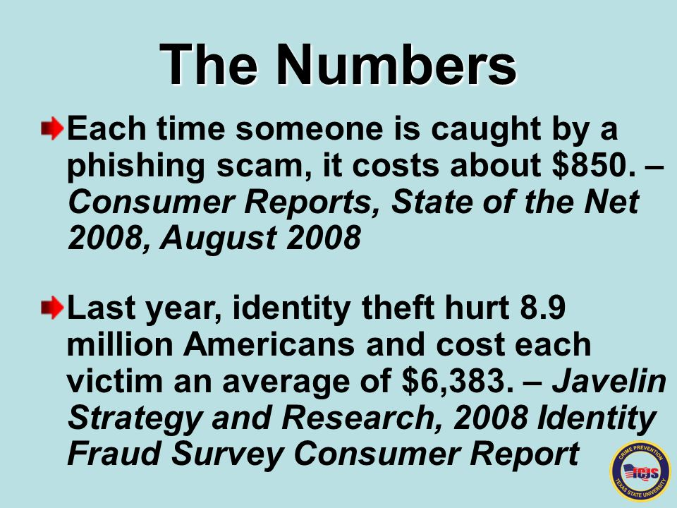The Numbers Each time someone is caught by a phishing scam, it costs about $850.