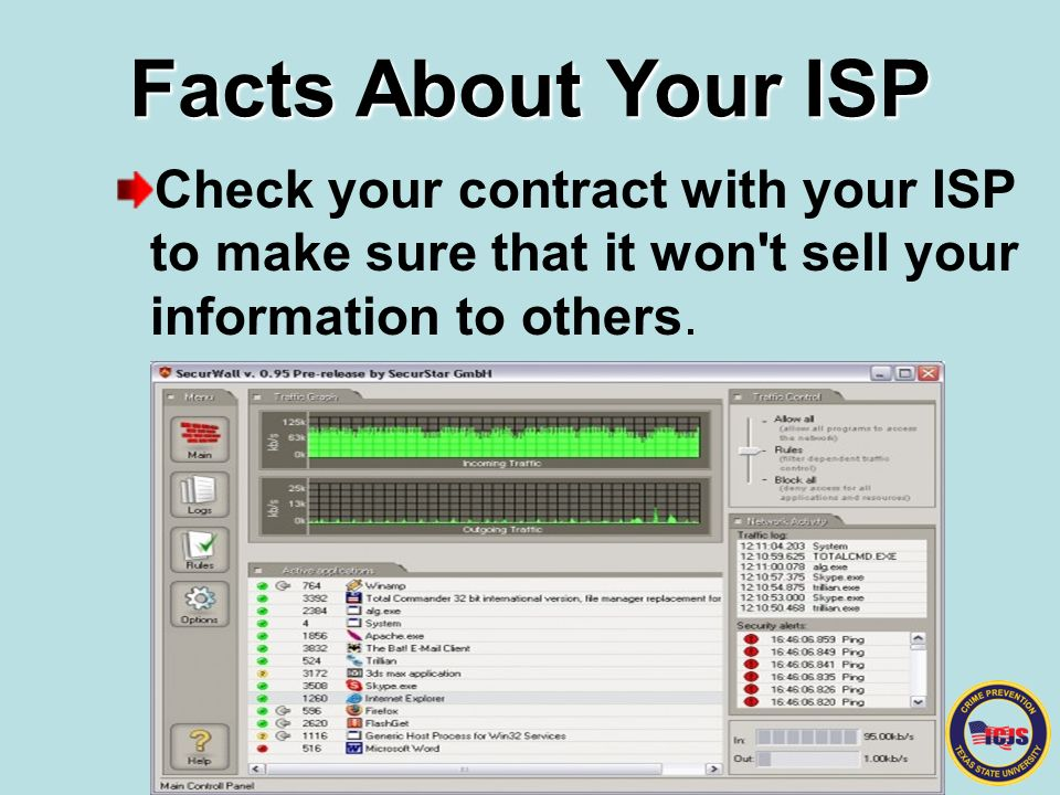 Facts About Your ISP Check your contract with your ISP to make sure that it won t sell your information to others.