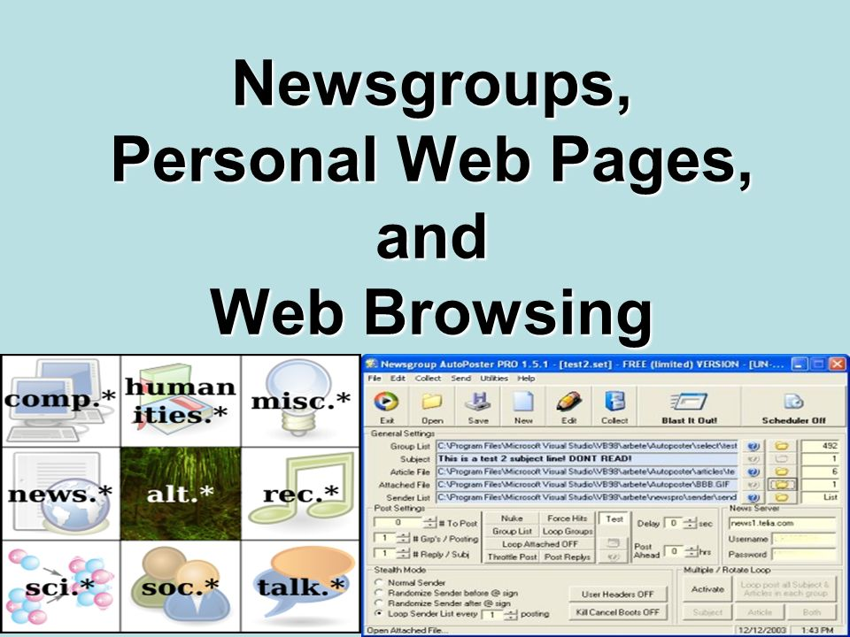 Newsgroups, Personal Web Pages, and Web Browsing