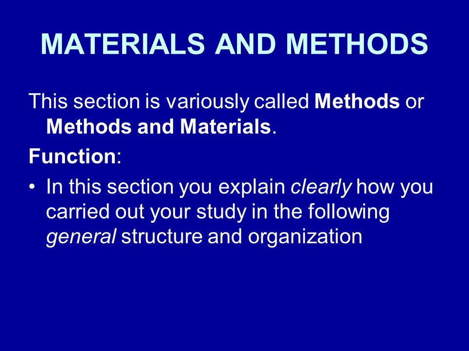 methods section of thesis