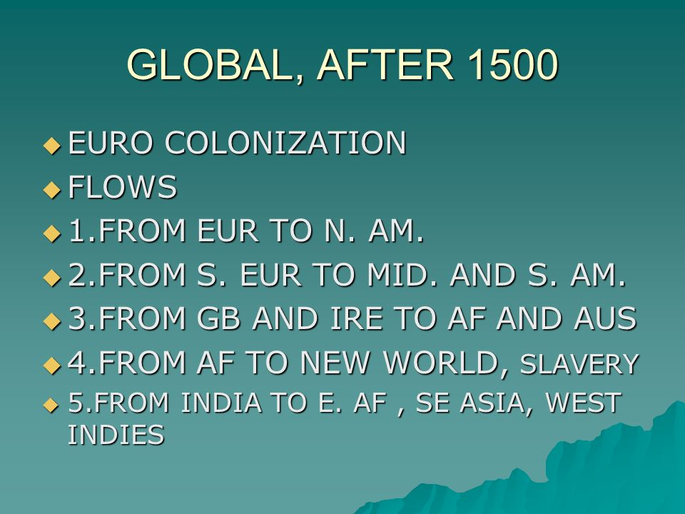 GLOBAL, AFTER 1500  EURO COLONIZATION  FLOWS  1.FROM EUR TO N.