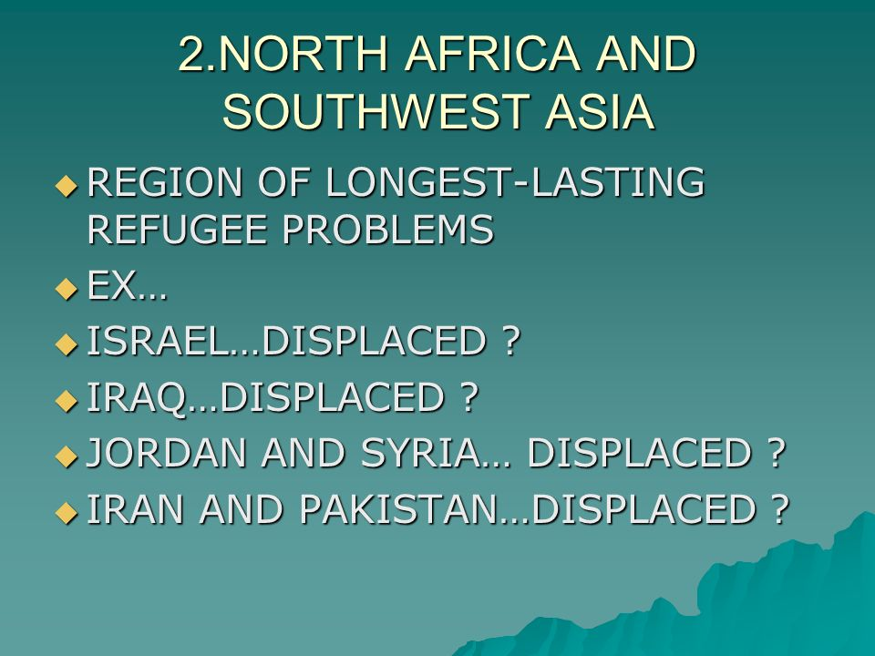 2.NORTH AFRICA AND SOUTHWEST ASIA  REGION OF LONGEST-LASTING REFUGEE PROBLEMS  EX…  ISRAEL…DISPLACED .
