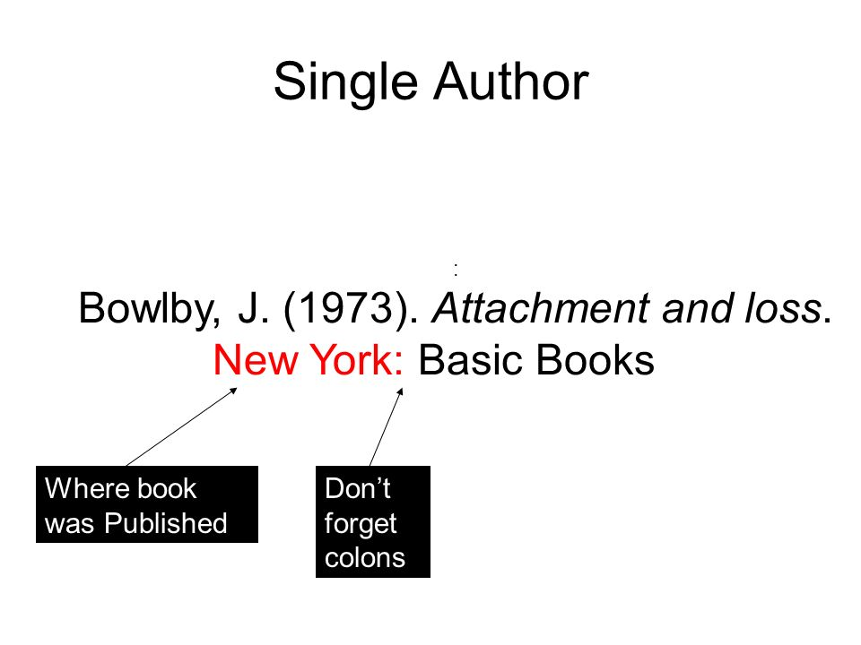 Single Author : Bowlby, J. (1973). Attachment and loss.