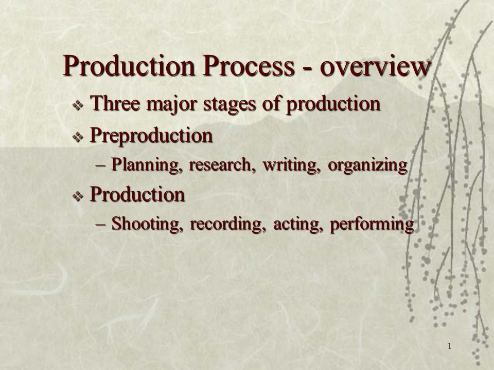1 Production Process - overview  Three major stages of production  Preproduction –Planning, research, writing, organizing  Production –Shooting, recording, acting, performing