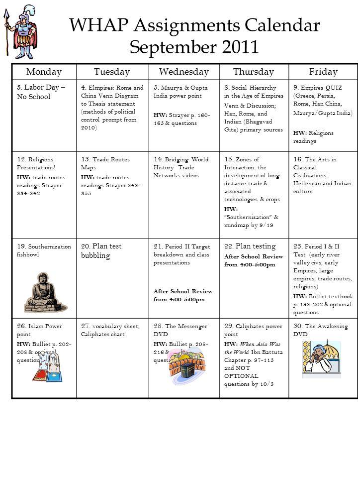 sample homework calendar
