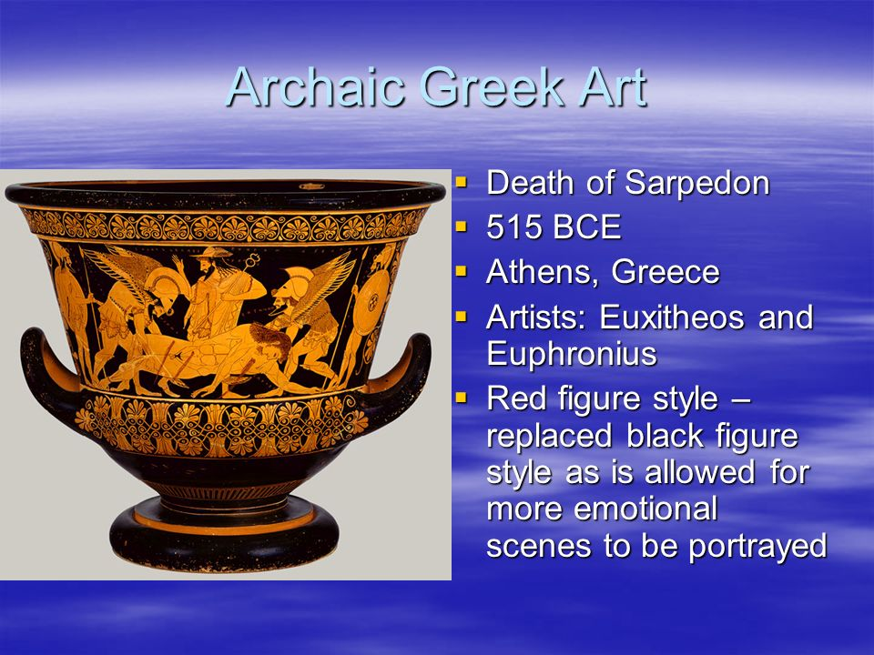 the periods of greek art A lesson on ancient greek the development of naturalism was central to the transition from the archaic to the early classical periods  if greek art of.