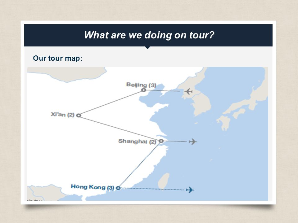 eftours.com What are we doing on tour Our tour map: