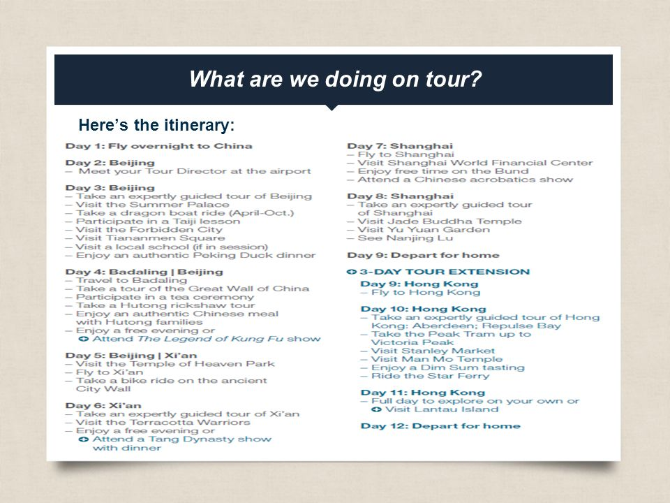 eftours.com What are we doing on tour Here's the itinerary: