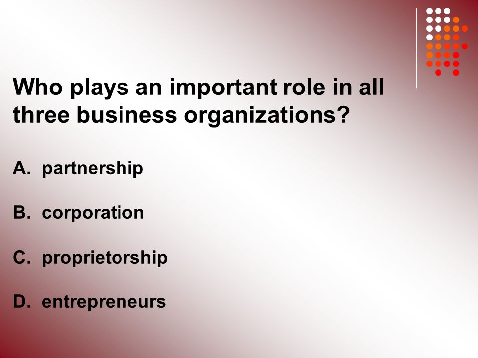 Who plays an important role in all three business organizations.