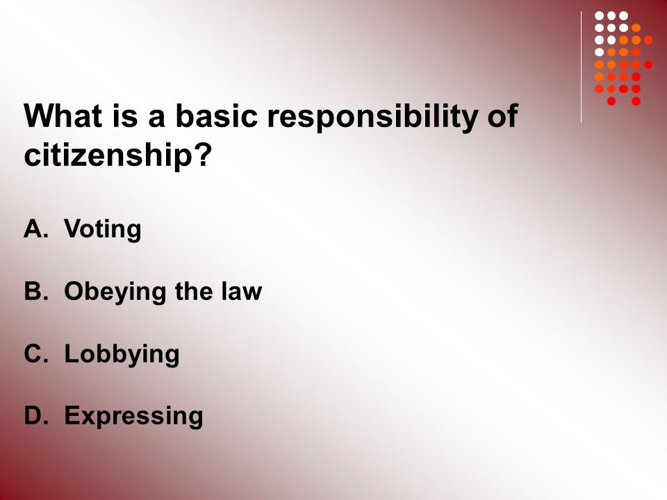 What is a basic responsibility of citizenship. A.
