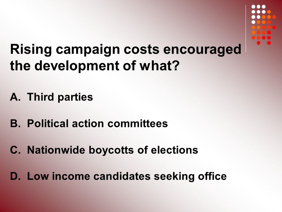 Rising campaign costs encouraged the development of what.