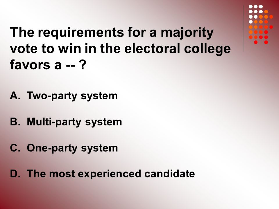 The requirements for a majority vote to win in the electoral college favors a -- .
