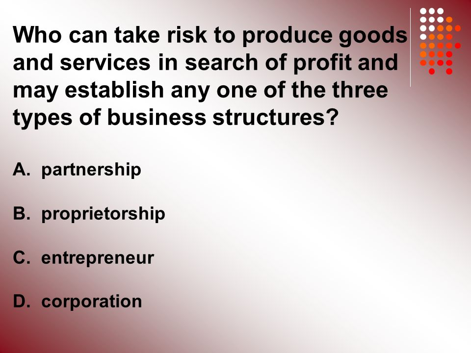 Who can take risk to produce goods and services in search of profit and may establish any one of the three types of business structures.
