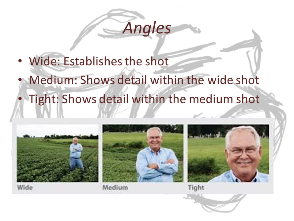 Angles Wide: Establishes the shot Medium: Shows detail within the wide shot Tight: Shows detail within the medium shot