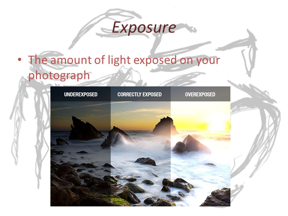 Exposure The amount of light exposed on your photograph