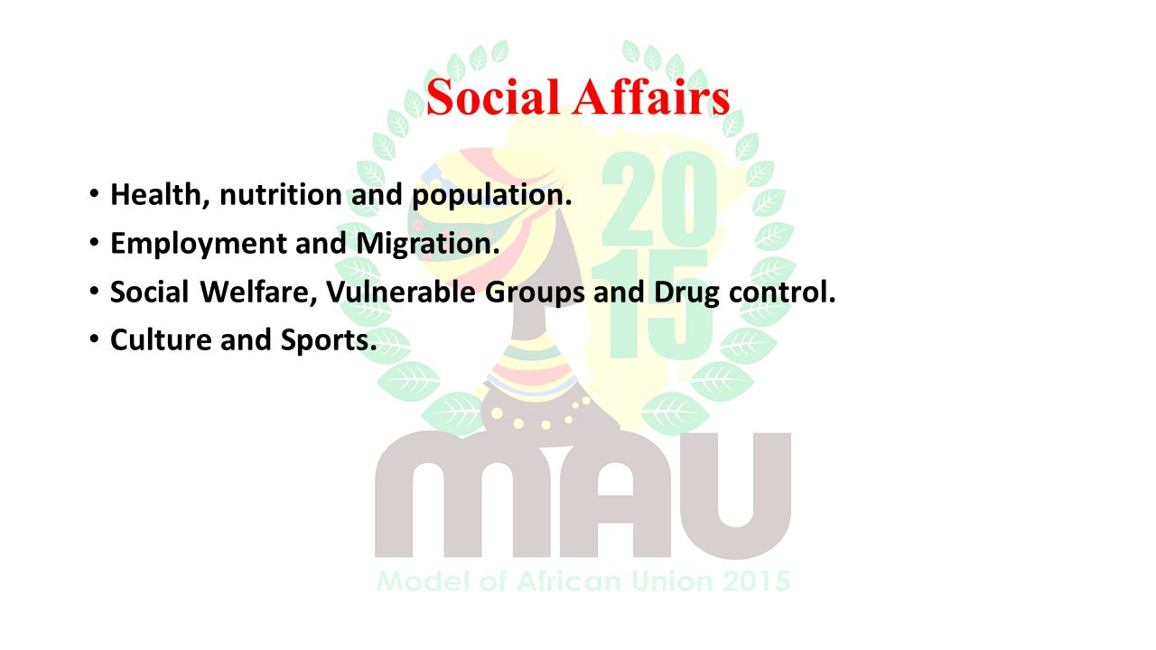 Social Affairs Health, nutrition and population. Employment and Migration.