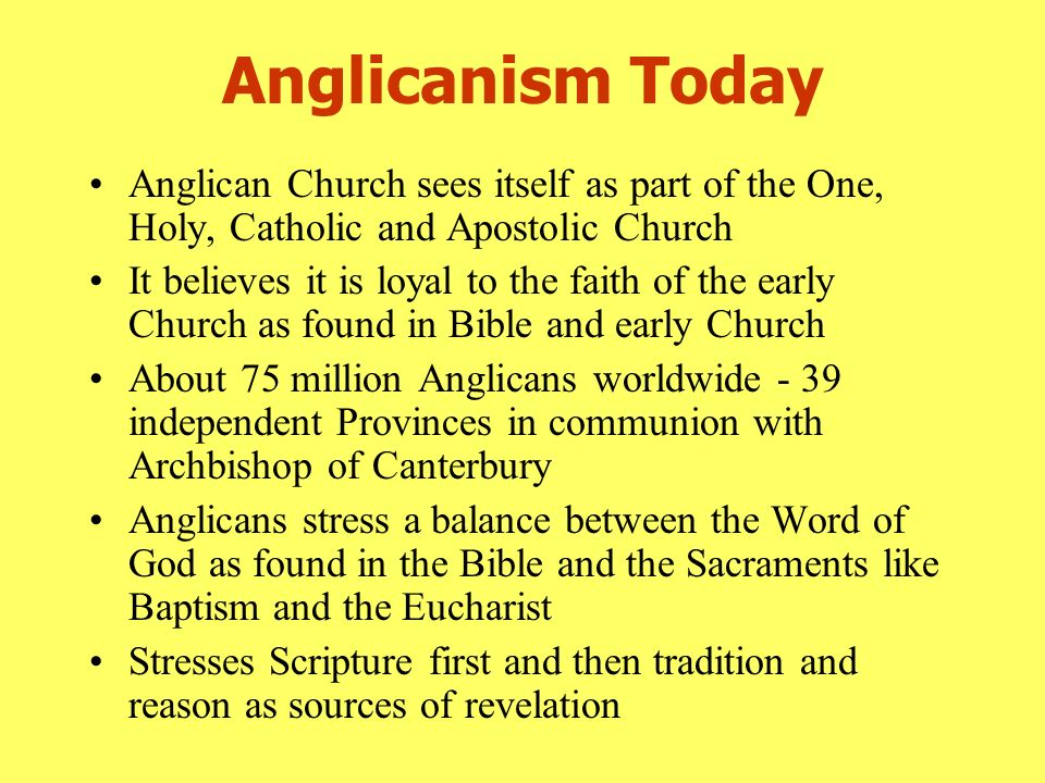 What are the unique features of the Anglican church?? (in comparison to the catholic church)?
