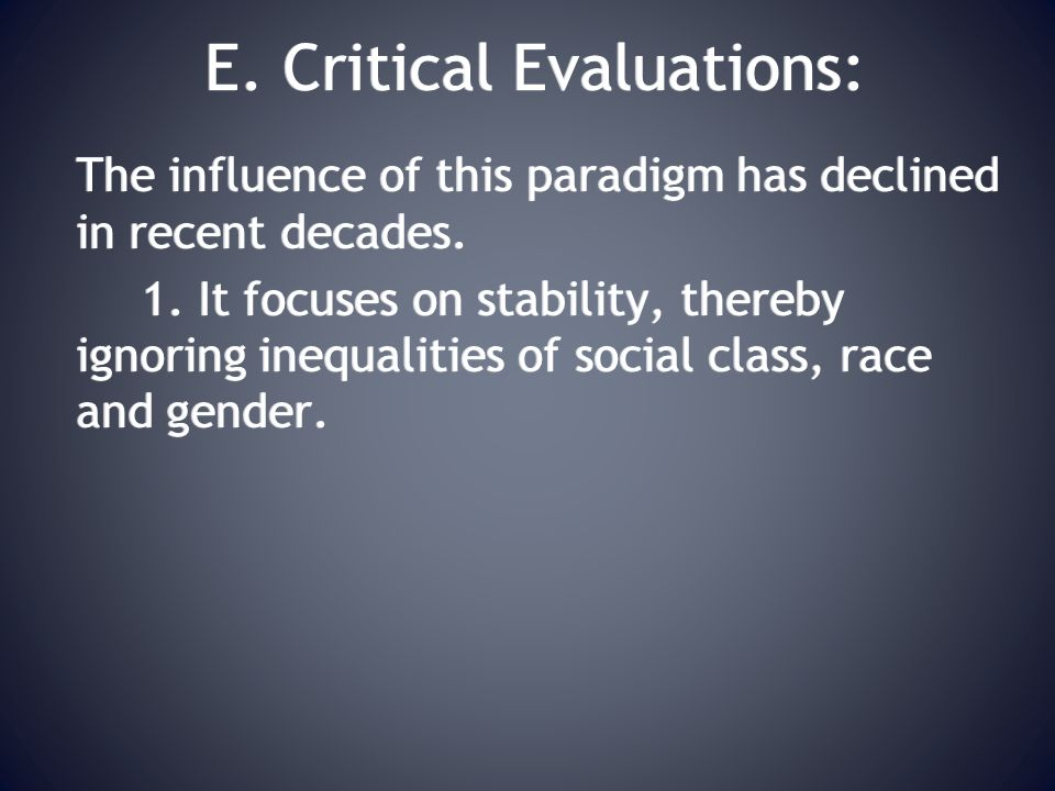 E. Critical Evaluations: The influence of this paradigm has declined in recent decades.