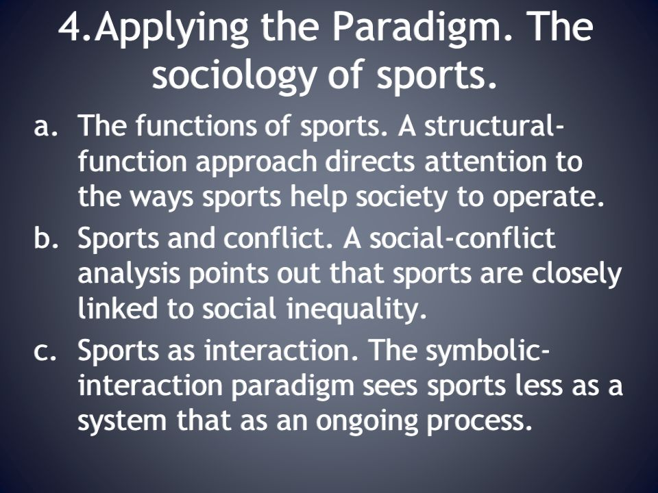 4.Applying the Paradigm. The sociology of sports.