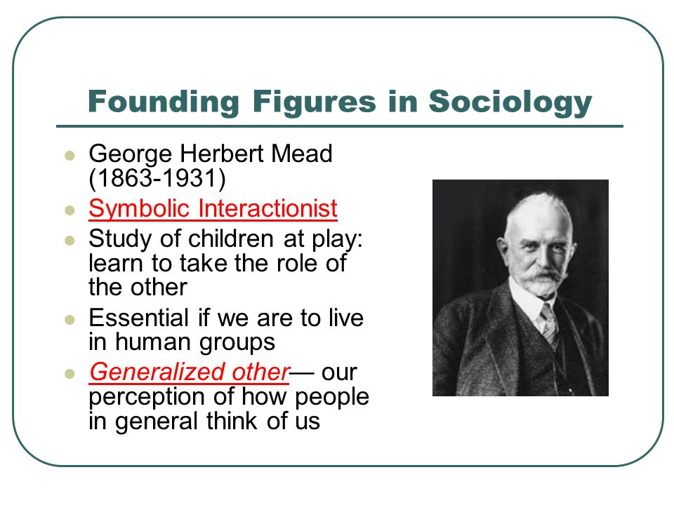 Founding Figures in Sociology George Herbert Mead ( ) Symbolic Interactionist Study of children at play: learn to take the role of the other Essential if we are to live in human groups Generalized other— our perception of how people in general think of us