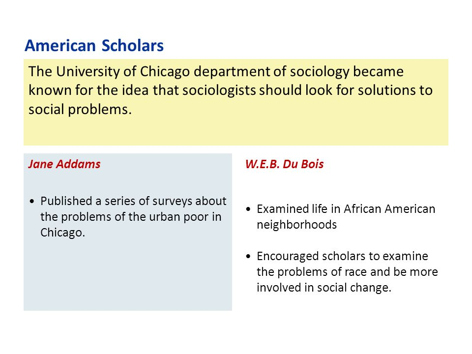 The University of Chicago department of sociology became known for the idea that sociologists should look for solutions to social problems.