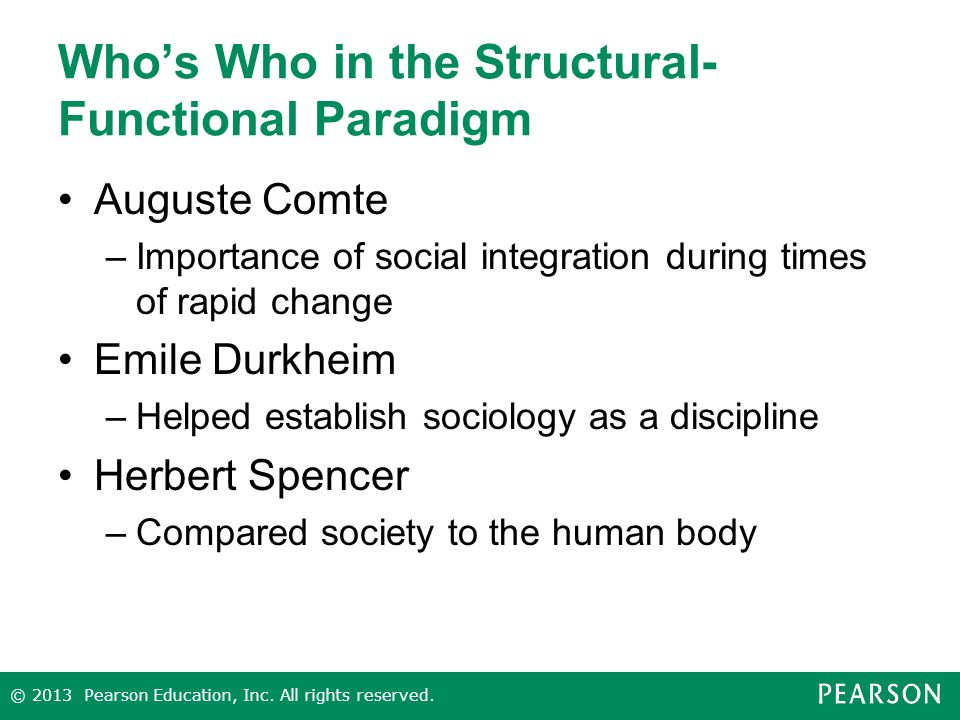 Who's Who in the Structural- Functional Paradigm Auguste Comte –Importance of social integration during times of rapid change Emile Durkheim –Helped establish sociology as a discipline Herbert Spencer –Compared society to the human body © 2013 Pearson Education, Inc.