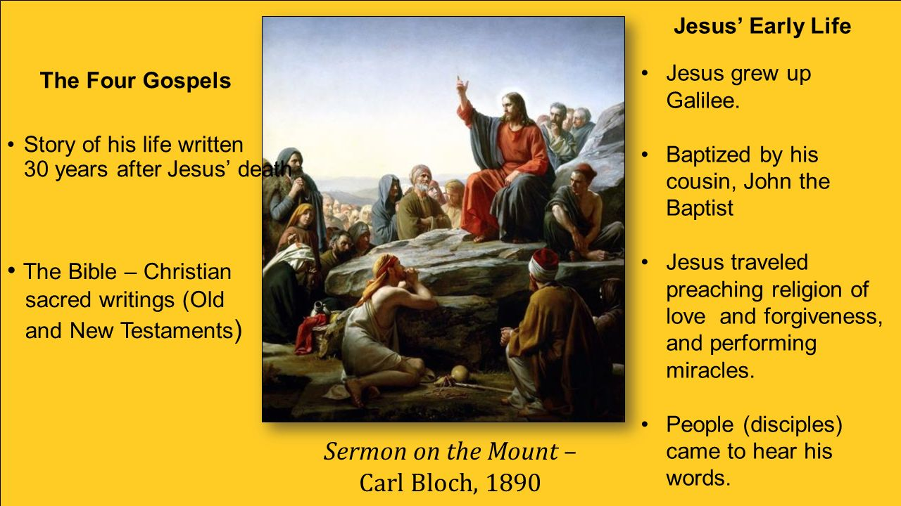 Sermon on the Mount – Carl Bloch, 1890 Story of his life written 30 years after Jesus' death The Bible – Christian sacred writings (Old and New Testaments ) The Four Gospels Jesus' Early Life Jesus grew up Galilee.