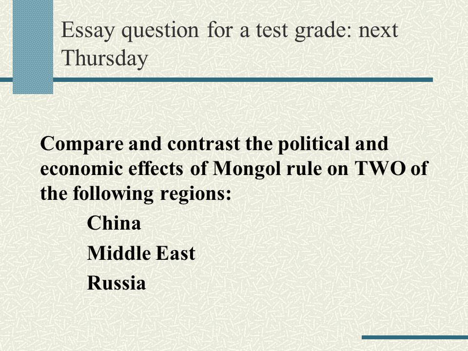 Compare and contrast the political and economic effects of Mongol rule in China and the Middle East?