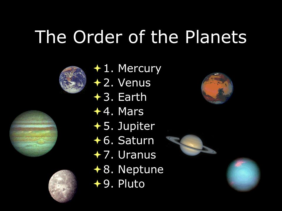 The Order of the Planets  1. Mercury  2. Venus  3.
