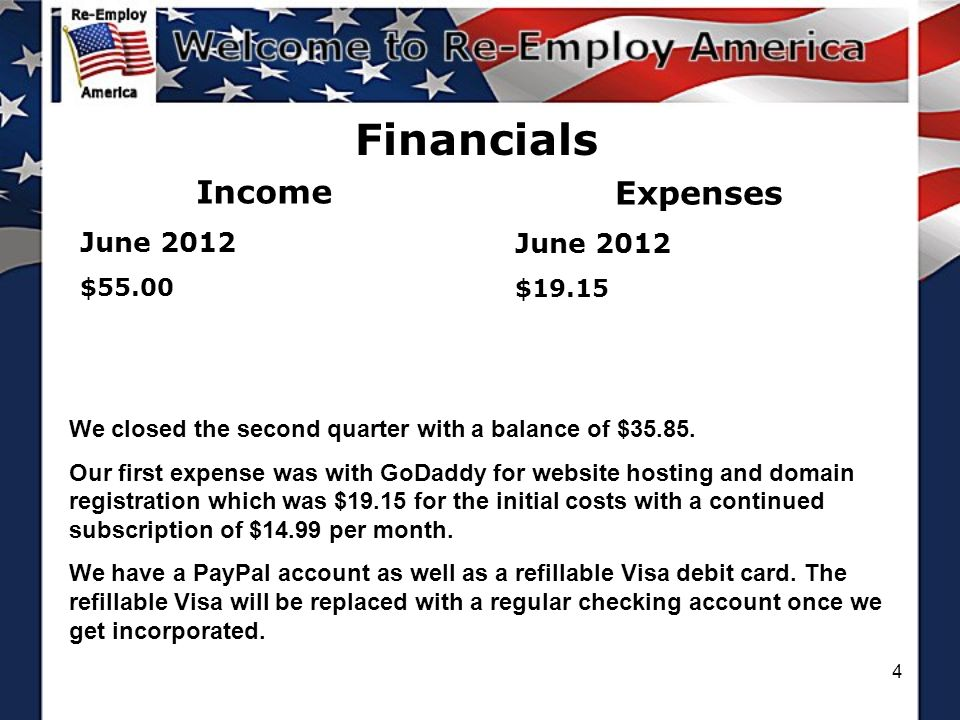 4 Financials Income June 2012 $55.00 Expenses June 2012 $19.15 We closed the second quarter with a balance of $35.85.