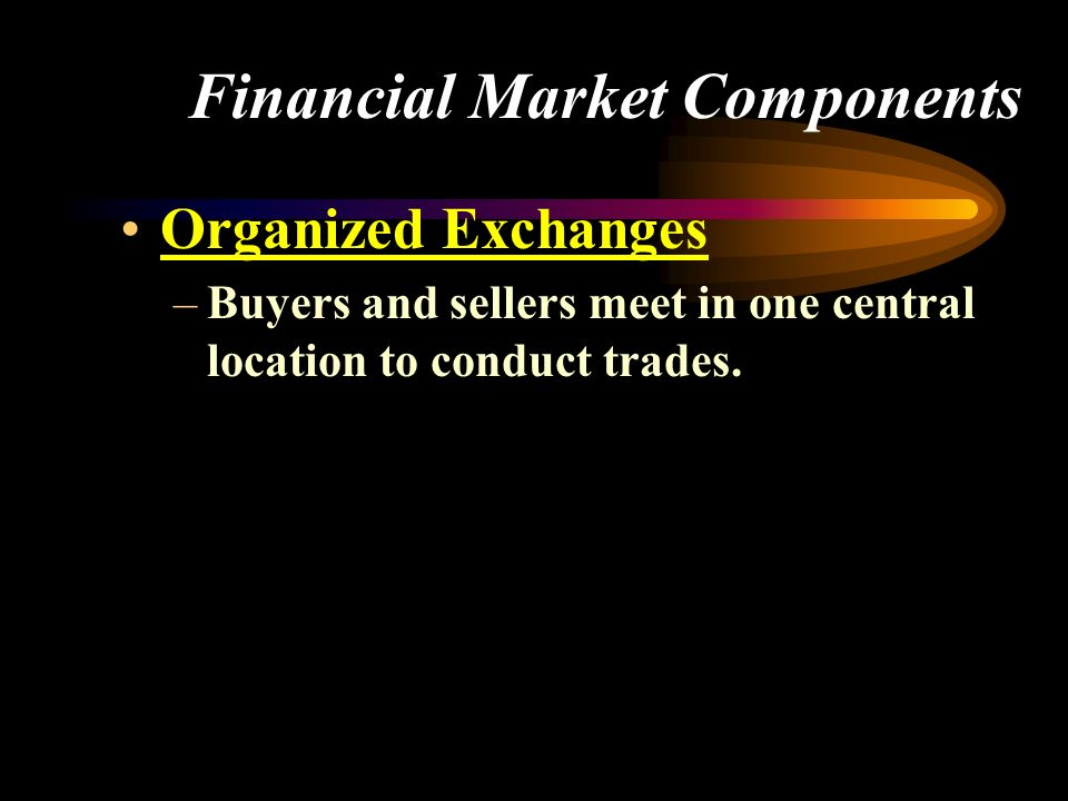 Financial Market Components Organized Exchanges –Buyers and sellers meet in one central location to conduct trades.