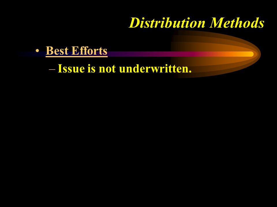 Distribution Methods Best Efforts –Issue is not underwritten.